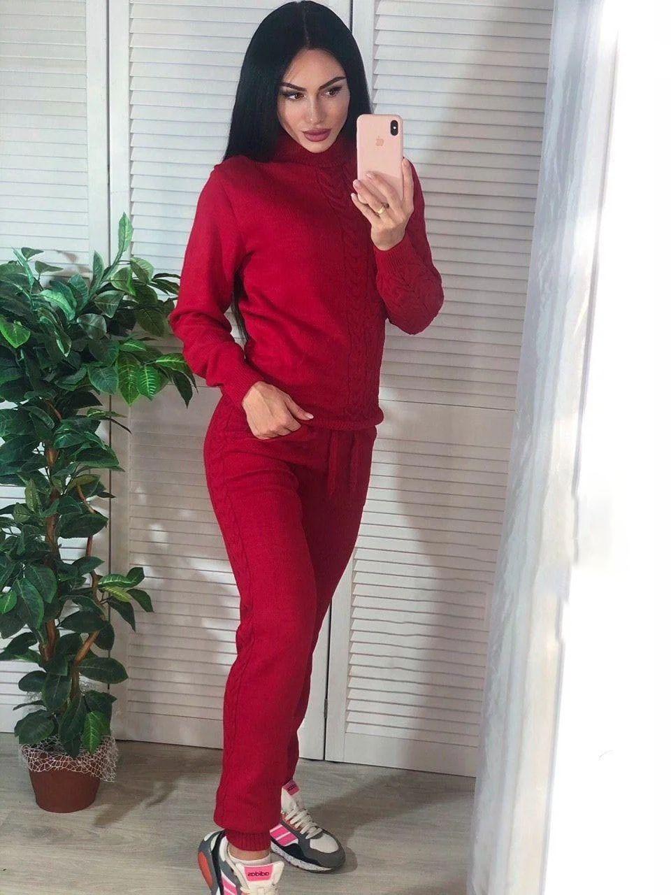 Костюм женский теплый вязаный штаны и кофта косичка