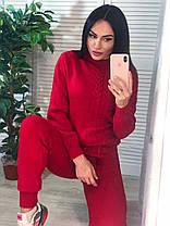 Костюм жіночий теплий в'язаний штани і кофта косичка, фото 3