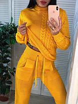 Костюм жіночий теплий в'язаний штани і кофта косичка, фото 2