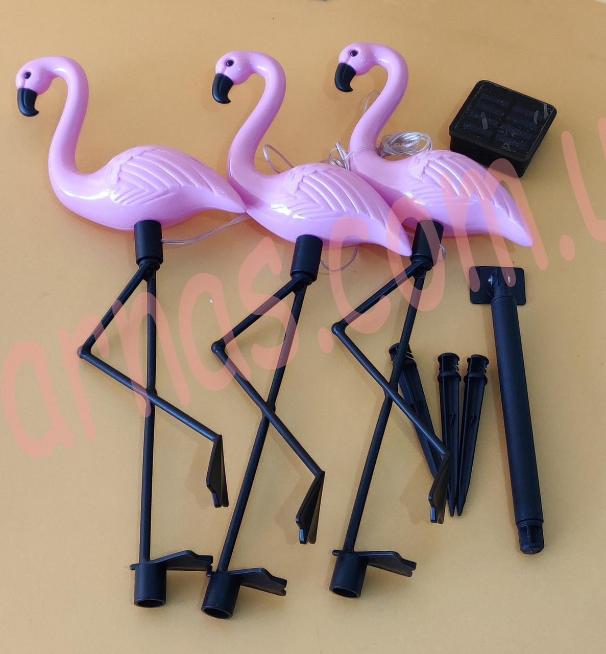 Уличный светильник фламинго 3шт на солнечной батарее