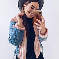 Очень теплая женская джинсовая куртка на меху кролик, фото 2