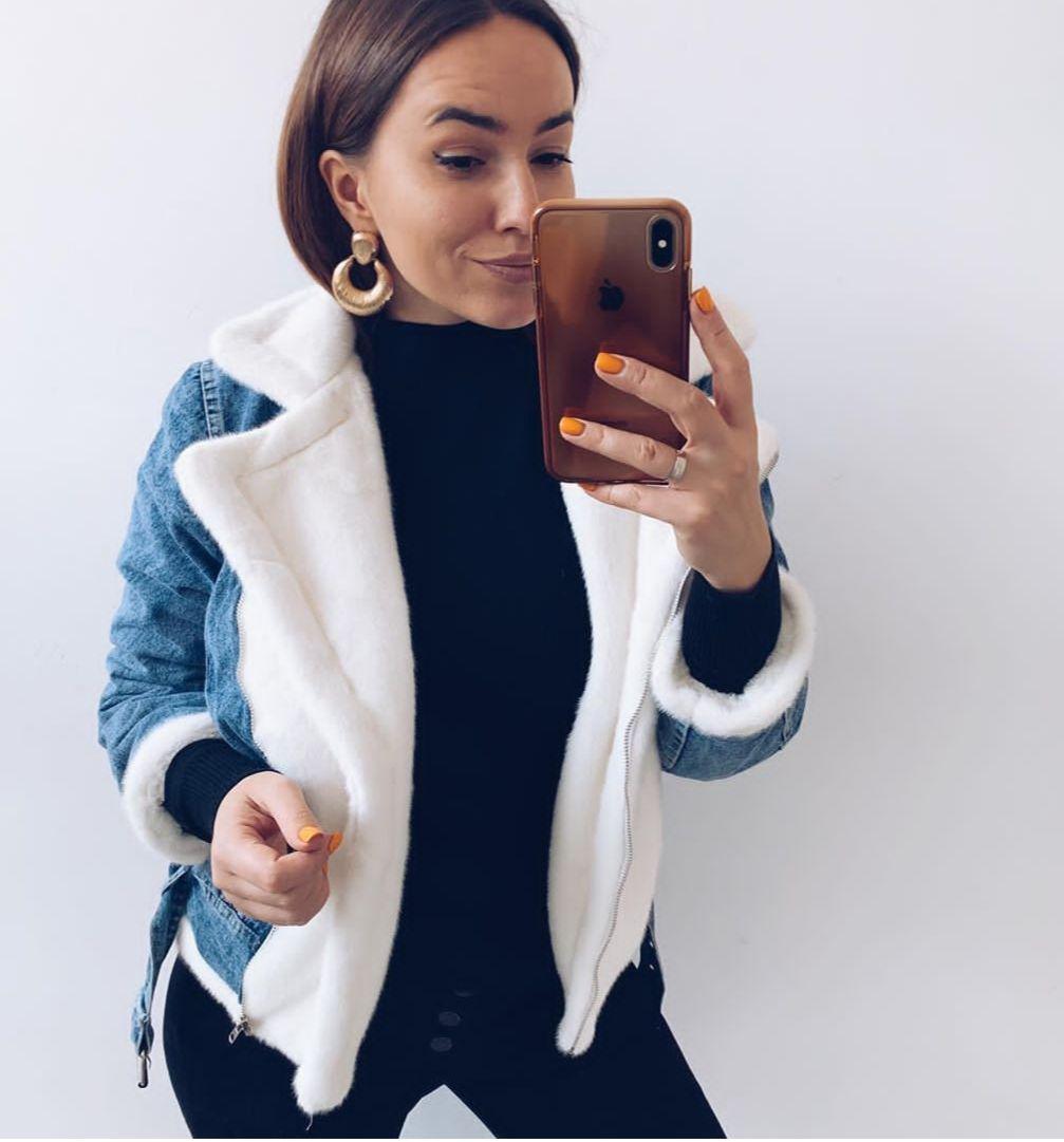 Очень теплая женская джинсовая куртка на меху кролик