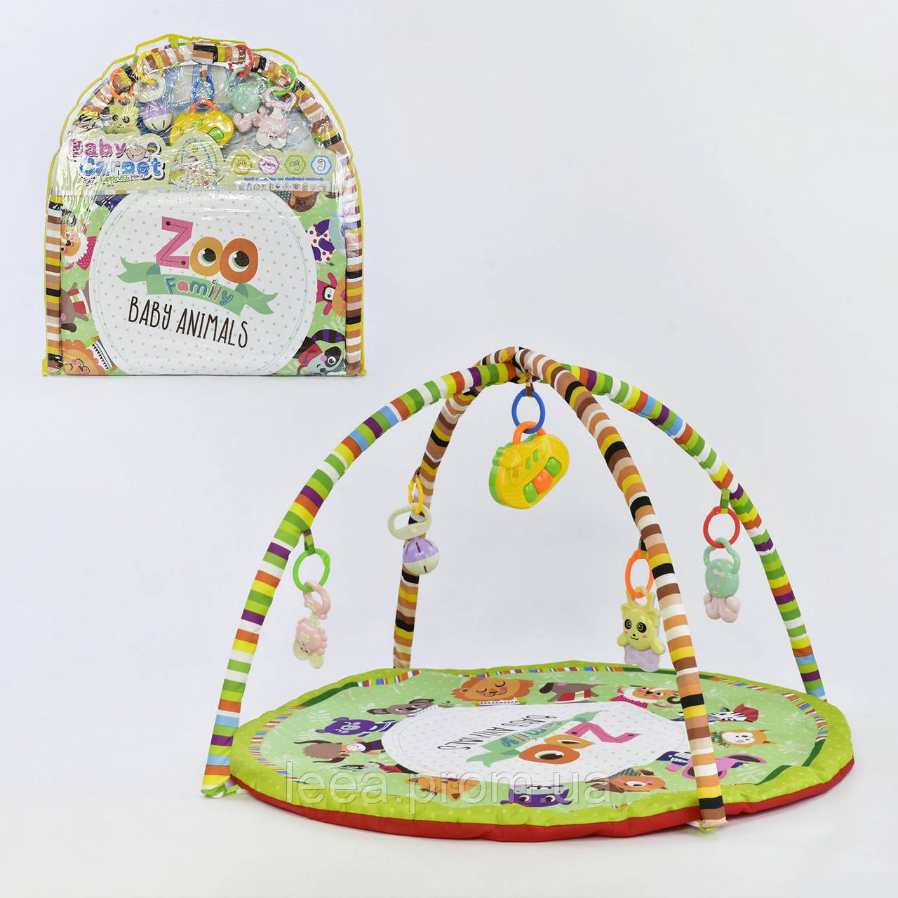 Музыкальный игровой коврик для младенцев круглой формы 1821 А с подвесными игрушками