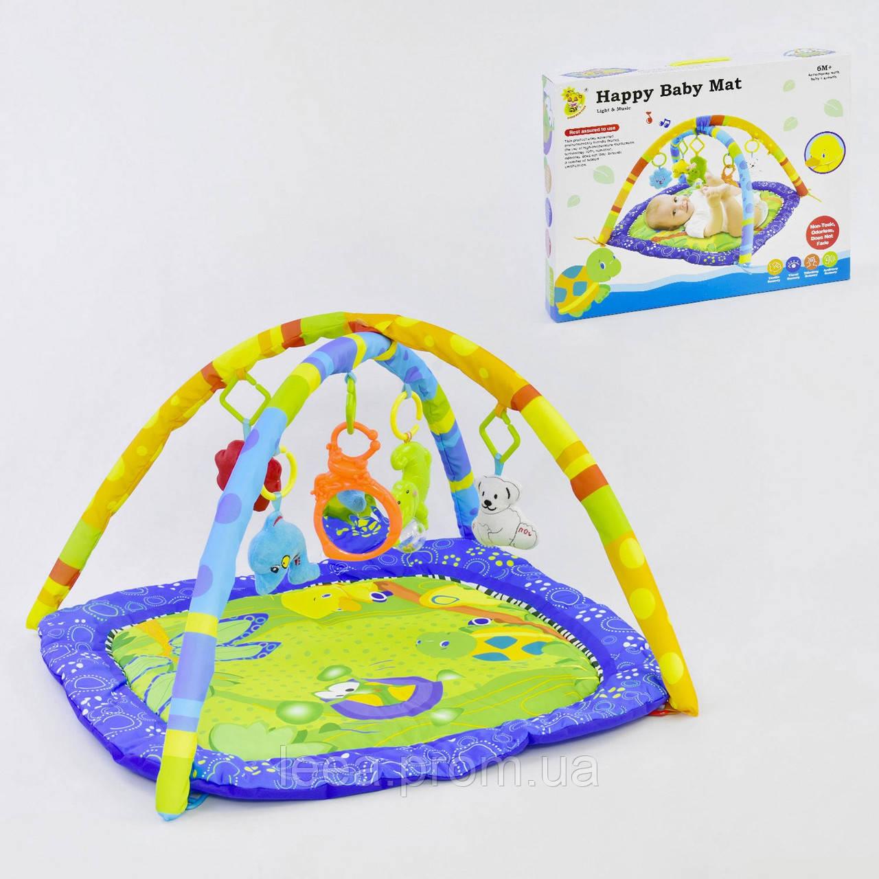 Развивающий игровой музыкальный коврик D 076 с подвесными игрушками