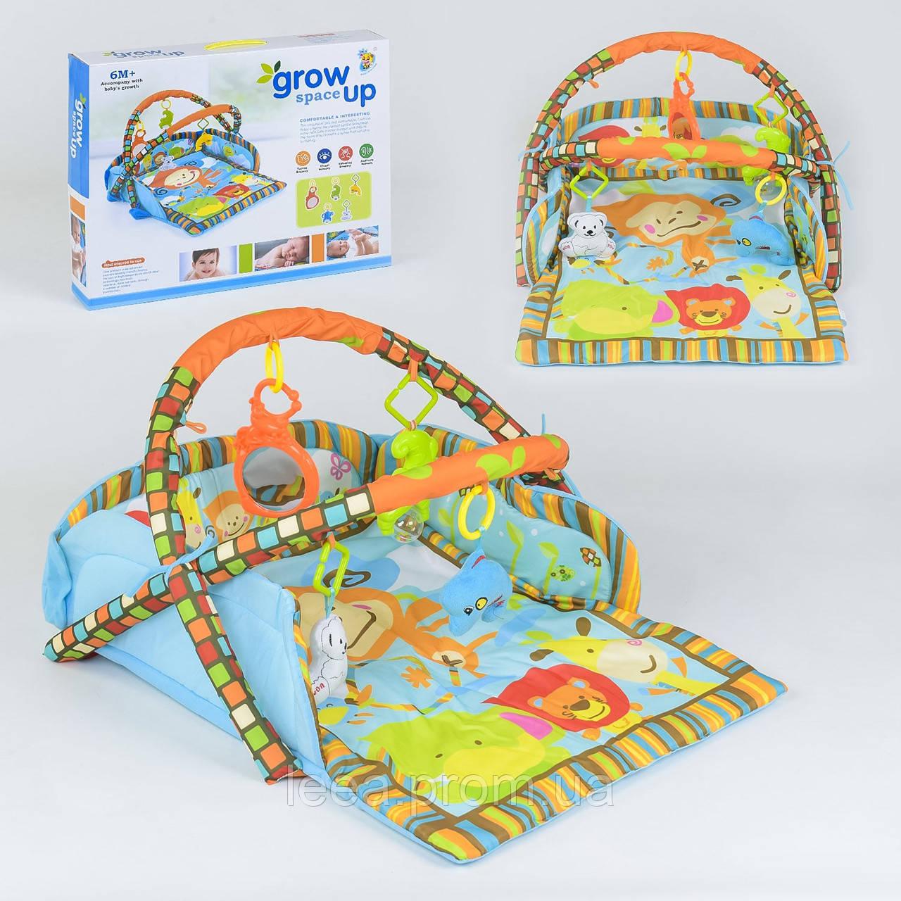 Развивающий музыкальный коврик с мягкими бортика D 106 и подвесными игрушками