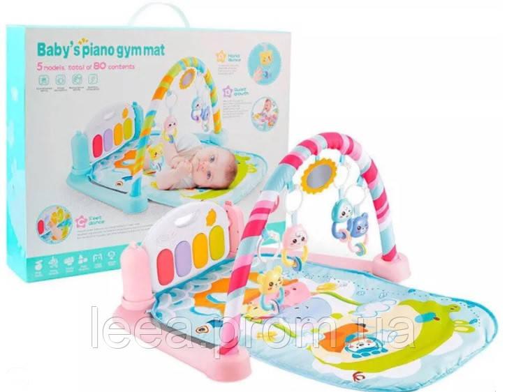 Развивающий музыкальный коврик для младенца Bambi 9913A с MP3, микрофоном,пультом розовый