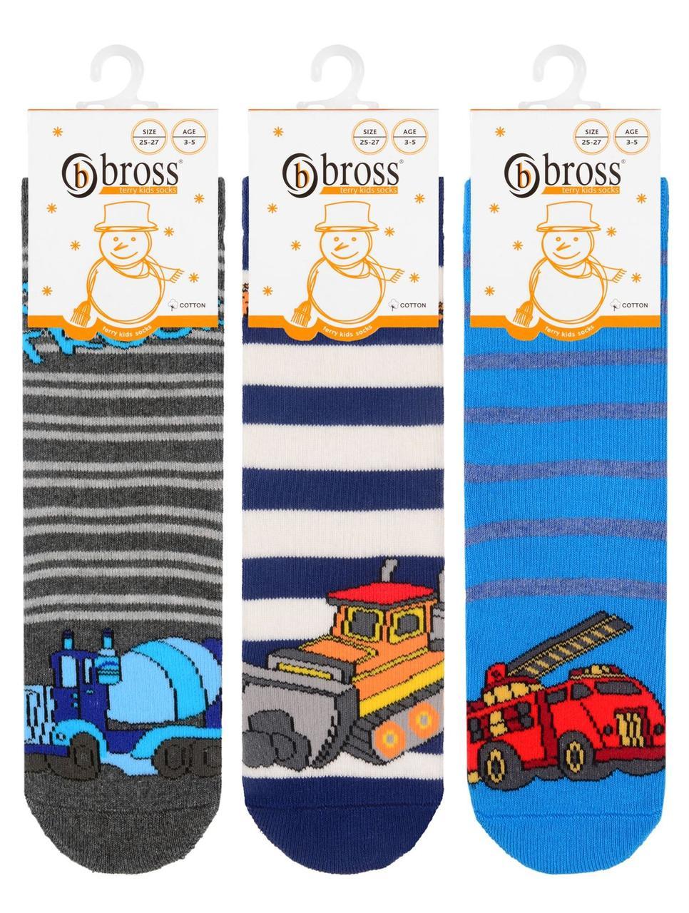 Носки детские для мальчика махровые с тормозами Bross (транспорт)
