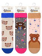 Носки  детские для девочки махровые с тормозами Bross (Мишки)