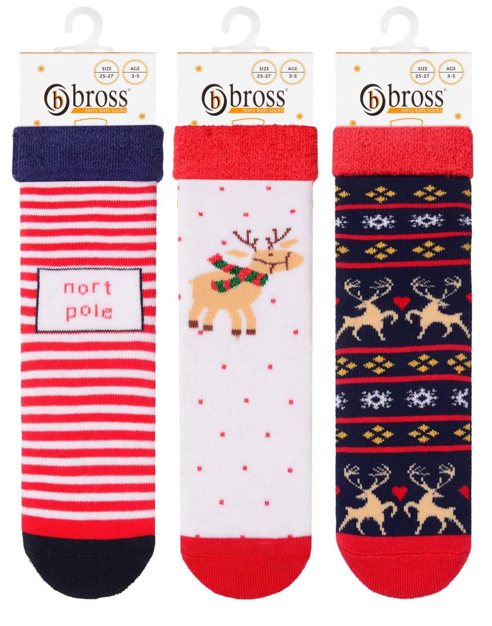 Носки  детские для девочки махровые с тормозами Bross (Северный полюс)