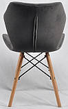 Стул Greg бархат серый B-1004 на деревянных буковых ножках, дизайн Charles Eames, фото 5