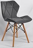 Стул Greg бархат серый B-1004 на деревянных буковых ножках, дизайн Charles Eames, фото 2