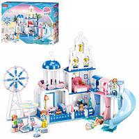 Конструктор типа лего для девочки Розовая мечта SLUBAN Замок с мебелью 446 деталей M38-B0868