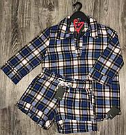 Рубашка в клетку и шорты, пижам теплая фланель.