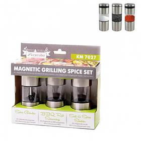 Набор емкостей для специй 3 шт 13,5 см с магнитами Kamille КМ-7027