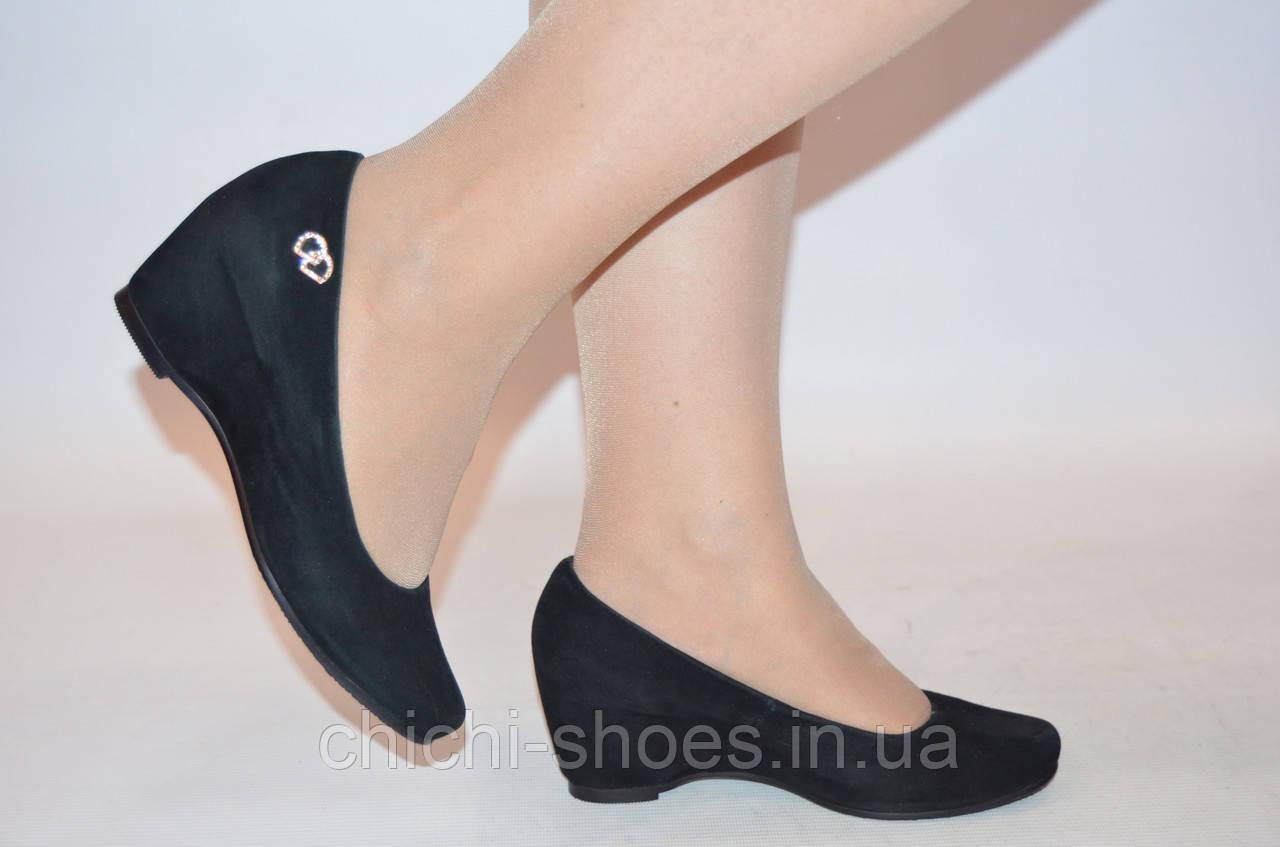 Туфли женские чёрные замшевые IT GIRL 068-91(последний 35 размер)