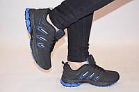 Кроссовки подростковые чёрные с синим нубук BONA 752Л-2, фото 1