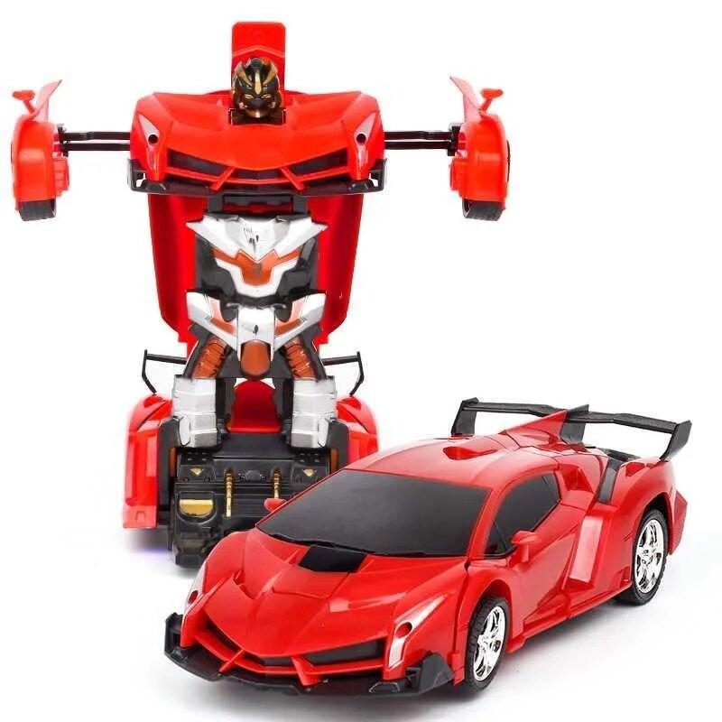 Машинка Трансформер Lamborghini Robot Size 118 Красная