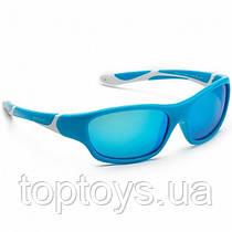 Дитячі сонцезахисні окуляри Koolsun бірюзово-білі серії Sport Розмір 6+ (KS-SPBLSH006)
