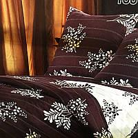 """""""темное цветочное"""" постельное белье Elway Premium евро размер 200*220 см,ткань сатин 100% хлопок"""