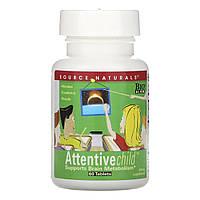 Комплекс для Поддержания Внимания у Детей, Attentive Child, Source Naturals, 60 таблеток