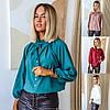 Р 42-56 Нарядна блузка-сорочка з коміром на зав'язках 22609