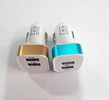 Автомобильное зарядное устройство (USB адаптер) 2USB mini цветной кругл./квадратный