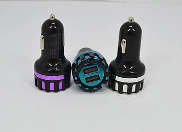 Автомобильное зарядное устройство (USB адаптер) 2USB пластик цветной
