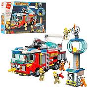 """Конструктор Brick 2809 """"Пожарная машина"""" 647 деталей, фигурки, в коробке"""
