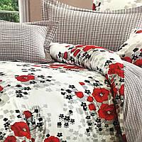"""""""красные маки"""" постельное белье Elway Premium евро размер 200*220 см,ткань сатин 100% хлопок"""