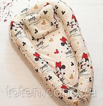 Детское гнездышко-позиционер для новородженных с ортопедической подушкой Минни Маус звезды