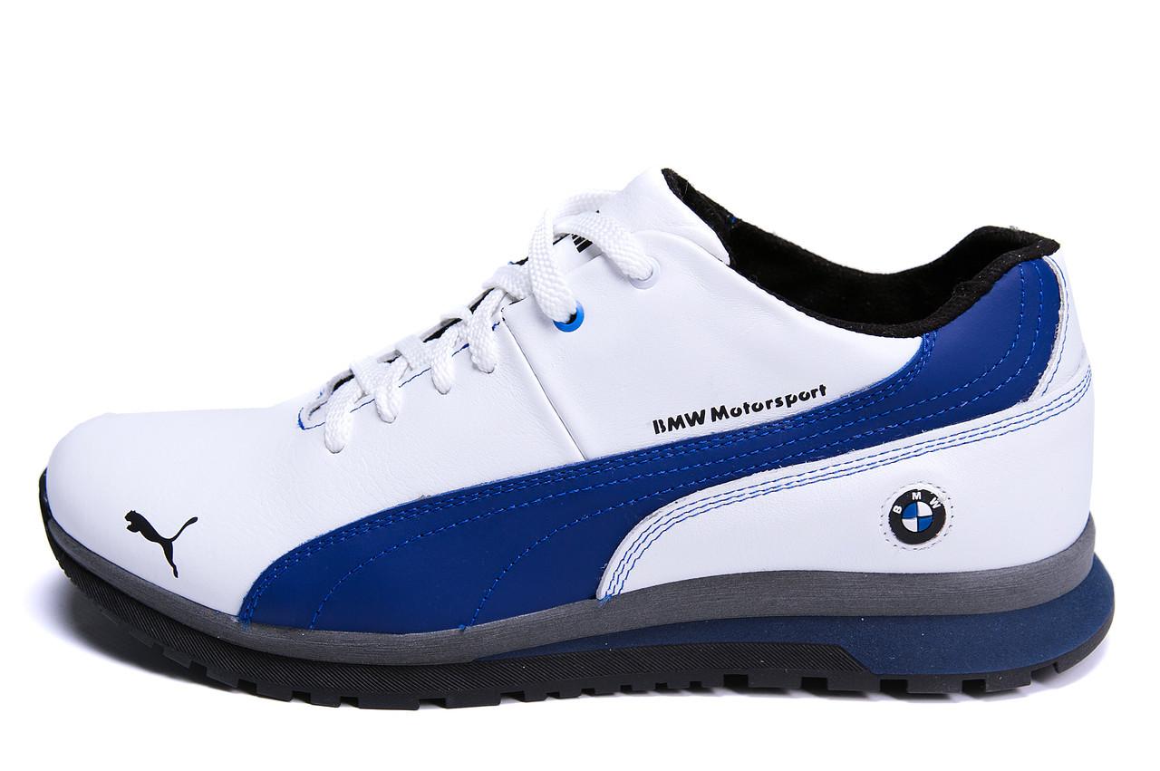 Чоловічі зимові шкіряні кросівки  BMW MotorSport White Pearl р. 40 43 45
