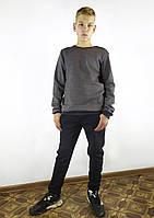 Теплый мужской свитшот на флисе в сером цвете S, M, L, XL, XXL