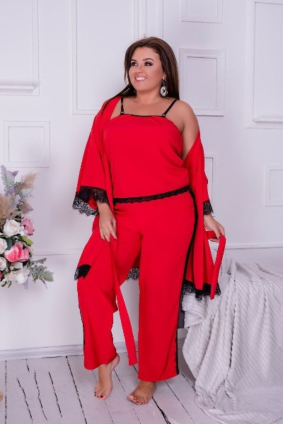Женская красная домашняя одежда из халата, брюк и топа с кружевом