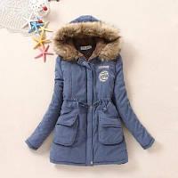 Женская куртка парка ХL(46-48) цвет голубой