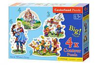 """Пазлы 4 в 1 """"История Белоснежки"""", Castorland, пазл,пазлы castorland,детские пазлы,пазлы для детей"""