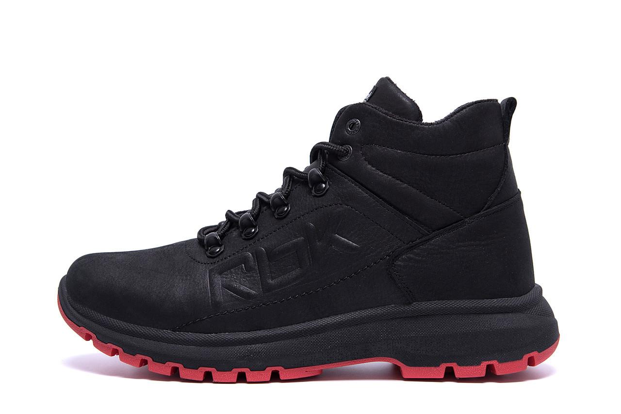 Мужские зимние кожаные кроссовки Black leather  р. 40 41