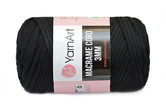 YarnArt Macrame Cord 3mm, Черный №750