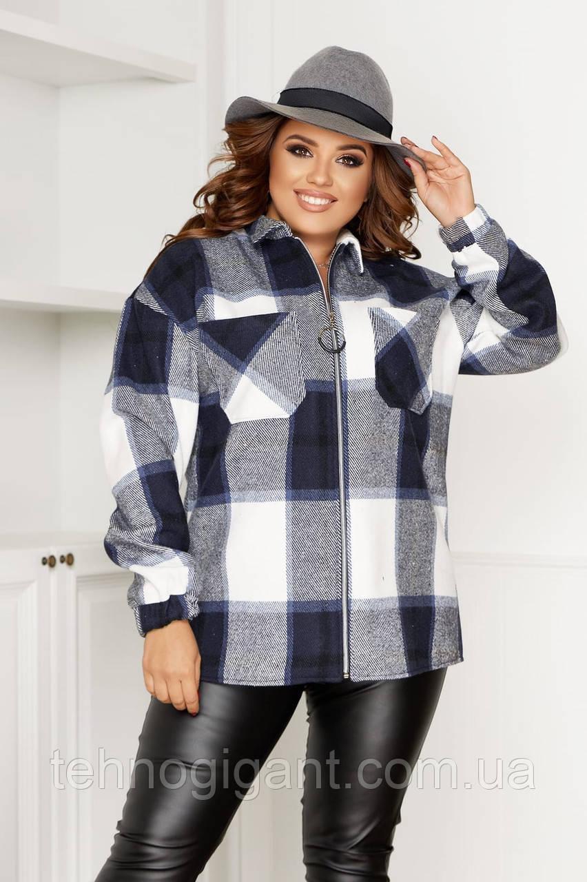 Жіноча сорочка в клітку великих розмірів ( 58 ), тепла жіноча сорочка в клітку великого розміру, Синій