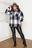 Жіноча сорочка в клітку великих розмірів ( 58 ), тепла жіноча сорочка в клітку великого розміру, Синій, фото 2