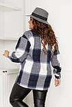 Жіноча сорочка в клітку великих розмірів ( 58 ), тепла жіноча сорочка в клітку великого розміру, Синій, фото 3