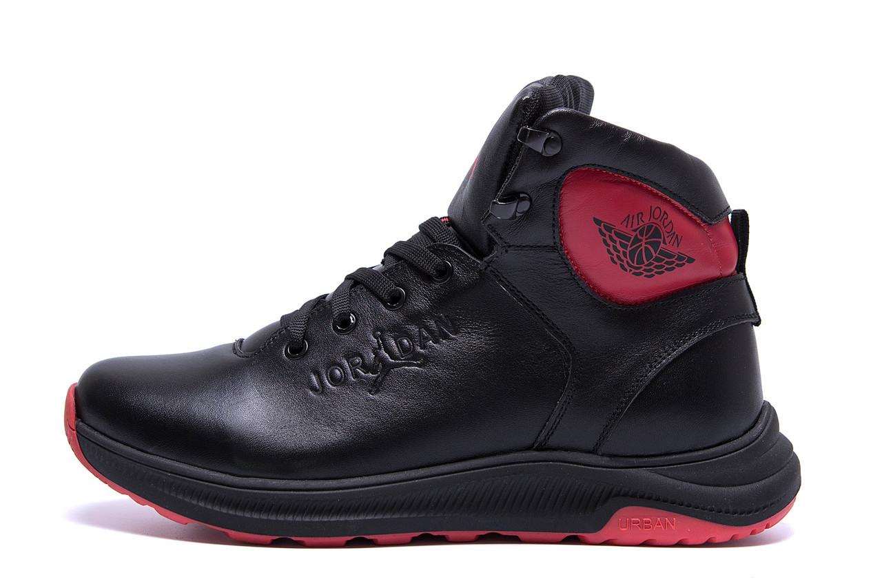Мужские зимние кожаные кроссовки Jordan Black leather  р. 42 43