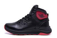 Мужские зимние кожаные кроссовки Jordan Black leather  р. 42 43, фото 1