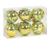 """Ёлочная игрушка """"Шары"""" 6 штук (золотистый), новогодние игрушки,игрушки на елку,елочные игрушки,новогодние"""