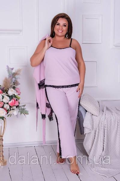 Женский домашний розовый комплект из халата, брюк и топа