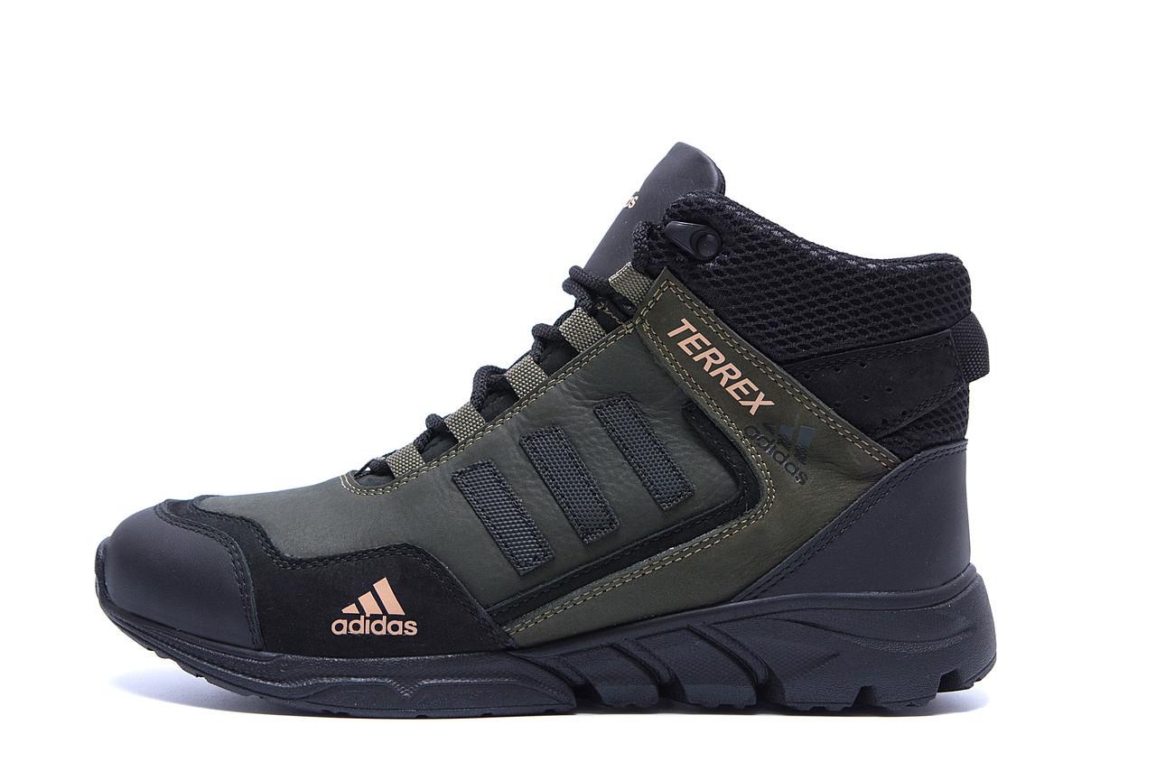 Чоловічі зимові шкіряні черевики Adidas TERREX Green р. 40 41 42
