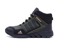 Чоловічі зимові шкіряні черевики Adidas TERREX Green р. 40 41 42, фото 1