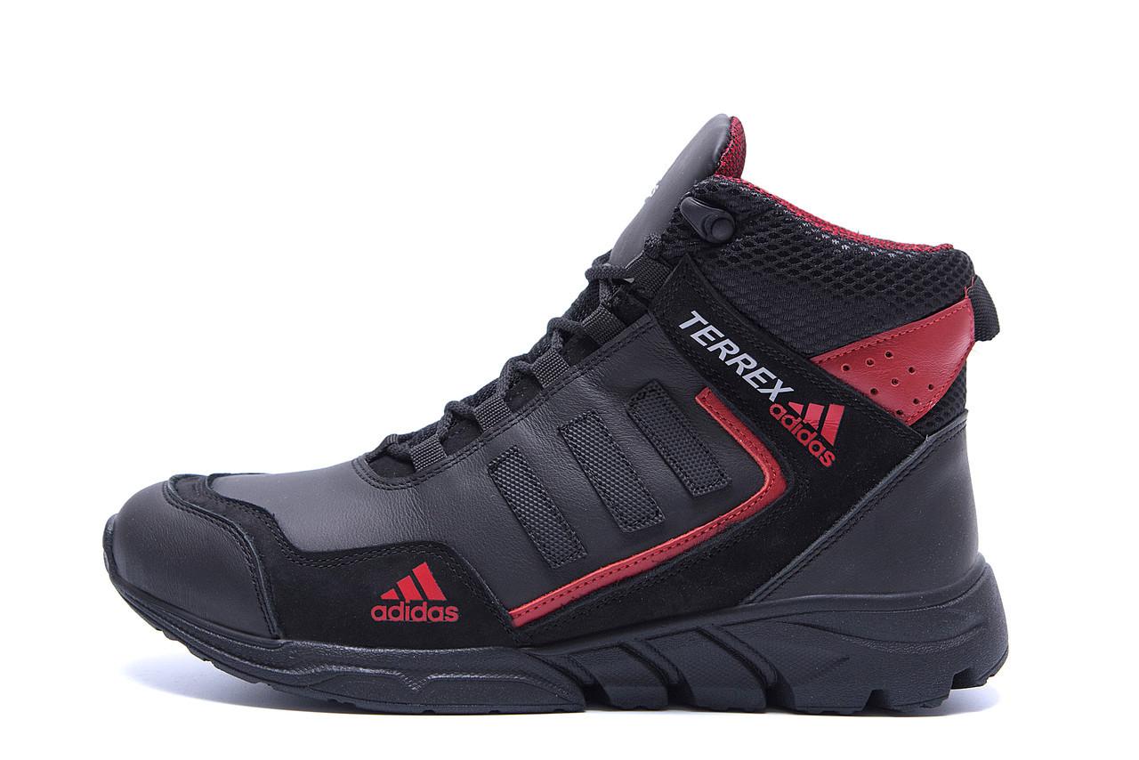 Чоловічі зимові шкіряні черевики Adidas TERREX Black р. 41 42