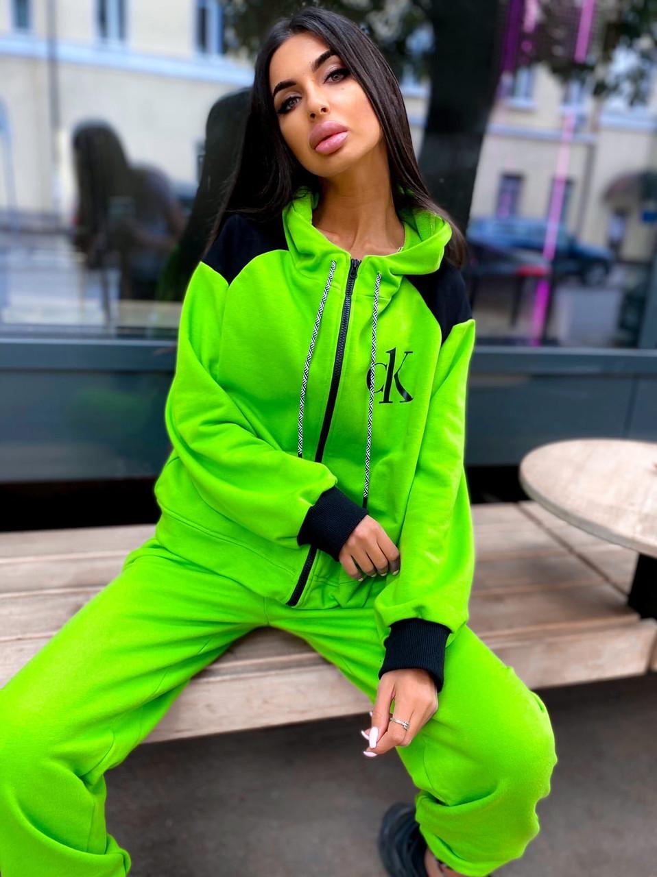 Женский спортивный костюм прогулочный кофта с надписью и штаны - джоггеры (р. 42-46) 5051121