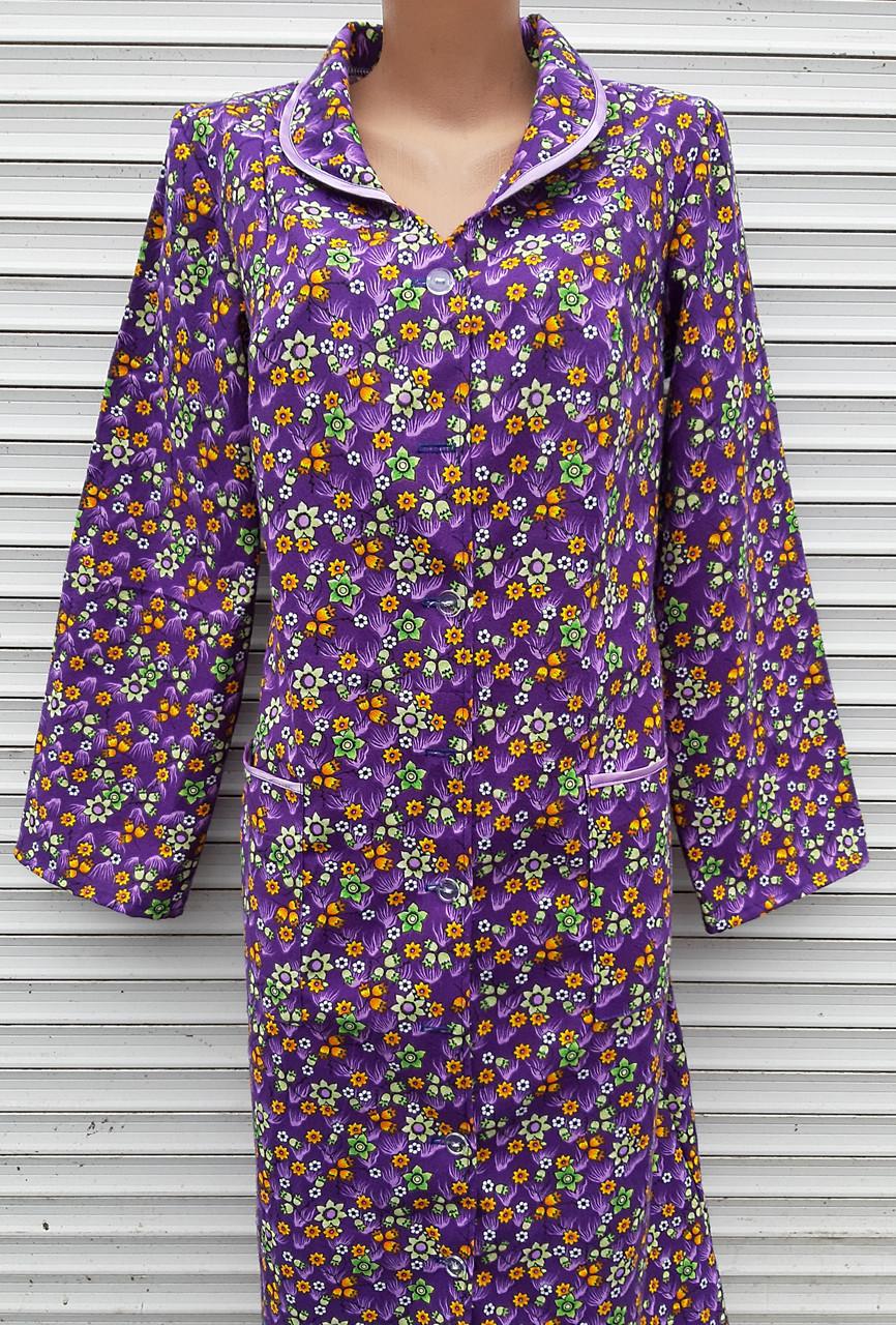 Теплый фланелевый халат 56 размер Фиолет