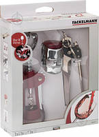 Набор барных аксессуаров Fackelmann штопор, открывалка, пробка, сталь/пластик (683658)